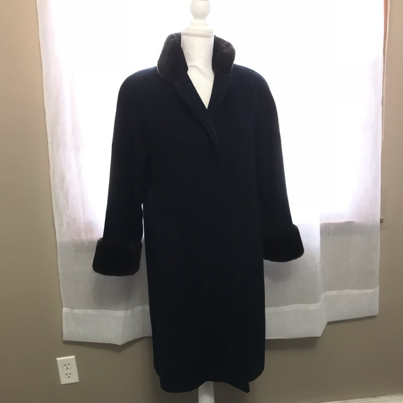 Jones New York Jackets & Blazers - Jones New York Navy Blue Fur Pea Coat Dress Coat